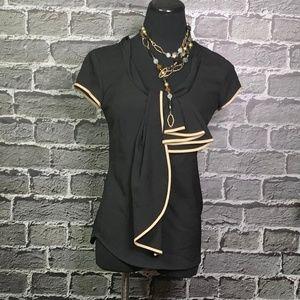 NWT New York & Company Silky Black Blouse Sz XS